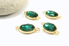 Faceted Bezel Connector 1pc Emerald Green Stone Connector Oval Bezel Charm Connector Rhinestone Charm Connector Faceted Bezel Charm