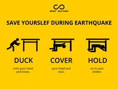 Earthquake tips. Duck, Cover, and Hold. What to do during an Earthquake Holding Onto You, Hold On, Entrepreneurship Articles, Digital Marketing Trends, Business Meeting, Fire Safety, Aesthetic Iphone Wallpaper, Natural Disasters, Survival Skills