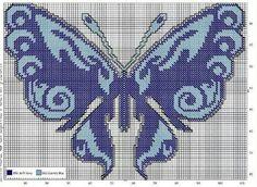 Blue butterfly Butterfly Cross Stitch, Cross Stitch Bird, Cross Stitch Embroidery, Cross Stitch Patterns, Butterfly Project, Butterfly Pattern, Blue Butterfly, Plastic Canvas Crafts, Plastic Canvas Patterns