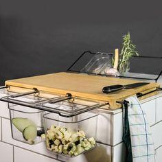 Super praktisches Frankfurter Brett! (Küchenwerkbank mit herausnehmbaren Behältern).