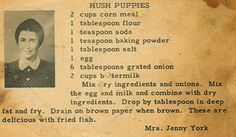 Roots From The Bayou: Family Recipe Friday - Hush Puppies. I will replace the flour with gluten free flour blend for gf hush puppies. Retro Recipes, Old Recipes, Vintage Recipes, Fish Recipes, Bread Recipes, Cooking Recipes, Recipies, Walleye Recipes, Cornmeal Recipes