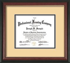 Rosewood with Gold Lip Document - Certificate Frame - Cream on Black – Professional Framing Company