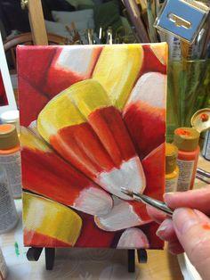 "acrylic on canvas ""Candy Corn"" still a work in progress by Karin Lamson/Art by Karin Autumn Painting, Autumn Art, Halloween Drawings, Marker Art, Christmas Paintings, Water Colors, Paint Markers, Candy Corn, Yard Art"