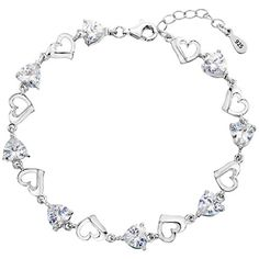 """EleQueen 925 Sterling Silver CZ Love Heart of Ocean Titanic Inspired Tennis Bracelet, 7.1""""+1.2"""" Extender >>> FIND OUT @ http://www.ilikeboutique.com/boutique/elequeen-925-sterling-silver-cz-love-heart-of-ocean-titanic-inspired-tennis-bracelet-7-11-2-extender/?a=1380"""