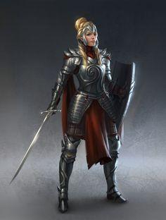 Humana, caucásica, joven adulta, pelo rubio, pelo largo, pelo recogido, guerrera, espada.