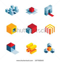 3D world startup idea creative virtual company element logo icons
