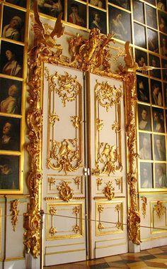 The magnificent doors to Pederhof Castle, St. petersburg, Russia