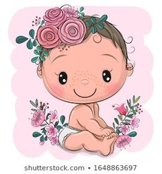 Cartoon bawith flowers on a pink background vector image on VectorStock Baby Girl Clipart, Baby Shower Clipart, Baby Shower Cards, Baby Cartoon Drawing, Cartoon Drawings, Cute Cartoon, Baby Girl Patterns, Nursery Patterns, Baby Prints