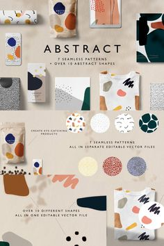 Abstract is a patterns and shapes kit composed of shapes and 7 seamless patterns for Illustrator.