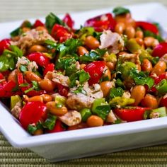 I loved this salad combination of pinto beans, olive-oil packed tuna, peperoncini, green onions, tomatoes, and parsley.  [#SouthBeachDiet Phase One from Kalyn's Kitchen]