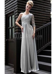 A-line One Shoulder Floor-length Satin Evening Dresses