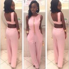 Simple Elegance is the Statement for this Designer Style NEW 2016 Sexy Backless Pink Romper Jumpsuit S-2XL - Loluxe - 1