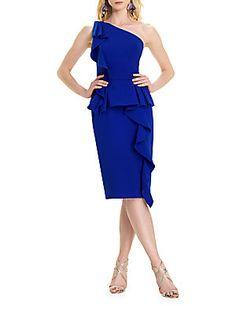 Theia Ruffled Bodycon Dress