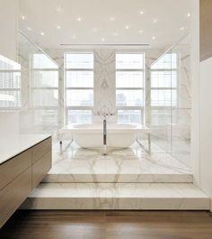 Marble on raised bathroom floor ● A Timeless and Classy Look Go for Carrara Marble