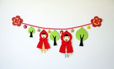 Red riding hood garland trim decor for wall / door by Tutika