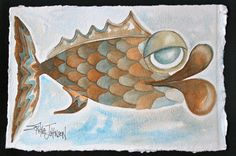Whimsical Big Lip Fish-Original Water color by ErikaJohnsonGallery
