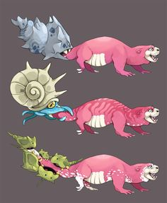 """riskydoodles: """" Slowbro evolutions of my Slowpoke variations from a while…"""