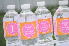 10 Water Bottle Labels Personalized - 1st Birthday Party Decorations - Orange, Pink and White Polkadots via Etsy