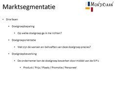Marktsegmentatie - De markt verdelen in verschillende doelgroepen en je daarbij richten op een specifieke groep.