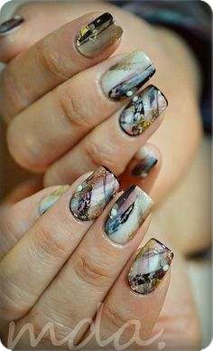Loving this abstract gel nail masterpiece with painterly quality detail #nailart Source