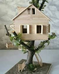35 So-Adorable Popsicle stick craft house designs for Fun – Nilüfer Aşkın – Join the world of pinHow to make tree house Many childhood home built in the trees. I will try to create your own tree house.Take a look at these amazing Popsicle stick cra Popsicle Stick Crafts House, Popsicle Sticks, Craft Stick Crafts, Craft Stick Projects, Wood Sticks Crafts, Craft Sticks, Craft Ideas, How To Make Trees, Fairy Garden Houses