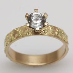 14k Gold And 18k Gold Diamond Engagement Ring
