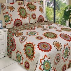 Moroccan Boho Mandala Red Orange Lightweight Reversible Microfiber Quilt Coverlet and Shams Set -  Soft and Comfortable quilt set for all seasons.  Features stylized Mandalas and Medallions pattern for an Awesome Moroccan or Bohemian style bedroom.