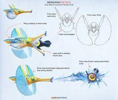 Subnautica: Below Zero - 'Brinewing' Details by Abiogenisis on DeviantArt Subnautica Concept Art, Alien Concept Art, Creature Concept Art, Creature Design, Subnautica Creatures, Mythical Creatures, Weird Creatures, Aliens, Beast Creature