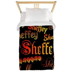 Sheffey Fonts - 9676 - on black background Twin Duvet