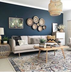 living room 393642823680485634 - deco bleu canard beige salon boheme Source by mademoisellepintade Interior Design Living Room Warm, Living Room Designs, House Paint Interior, Interior Modern, Modern Luxury, Bedroom Designs, Blue Accent Walls, Dark Blue Walls, Dark Blue Feature Wall