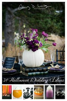 Don't naysay a Halloween wedding for fear of an orange and blank campy celebration. Use the Exquisite Black and Purple Halloween Wedding as inspiration to see how a Halloween wedding can truly be a classy affair. Fall Wedding Centerpieces, Wedding Table, Our Wedding, Dream Wedding, Wedding Ideas, Pumpkin Wedding Decorations, Pumpkin Centerpieces, Wedding Bride, Wedding Inspiration
