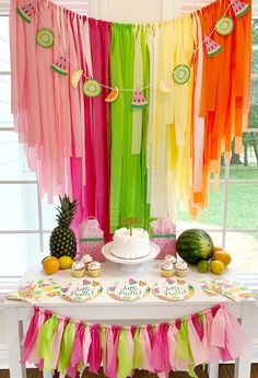 2nd Birthday Party For Girl, Fruit Birthday, Watermelon Birthday, 13th Birthday Parties, Summer Birthday, Birthday Themes For Kids, Birthday Party Ideas, Colorful Birthday Party, Summer Party Themes