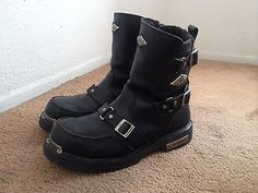 Harley- Davidson Mens Leather Motorcycle Boots size 13 NO RESERVE