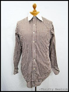 Vintage 1970s 70s Brown Check Doctor Collar Indie Disco Shirt XL | eBay