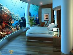 Bedroom under the sea. How'd you like to wake up to that every morning!
