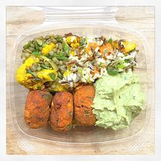 Perfect lunch A mae bowl to go with sweet potato falafels, avocado dip, turmeric roasted cauliflower and lentil salad and wild rice with squash and peppers #maedeli