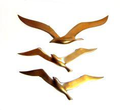Vintage Brass Seagull Sculptures, Metal Bird Wall Art Set