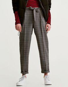 Pull&Bear - calças paperbag com laçada