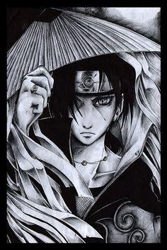 Naruto Uchiha Itachi Akatsuki drawing monochrome 4' Size Home Decoration Canvas Poster Print(China