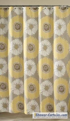 Yellow And Grey Shower CurtainsFabric