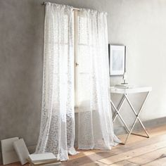 DKNY Halo Rod Pocket Sheer Window Curtain Panel in White - BedBathandBeyond.com