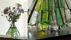 One-Of-A-Kind Web Of Plastic Caps Turns Bottles Into Fancy Vase