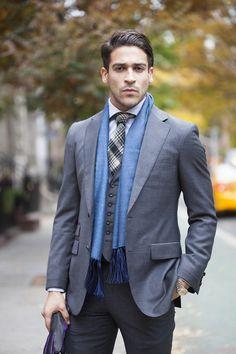 Doyle Mueser Bespoke Grey suit, blue scarf, men's fall fashion