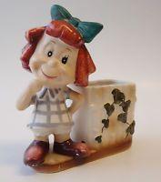 Vintage Planter Holder Figurine REDHEAD LITTLE GIRL Red Hair Curls Japan UNIQUE