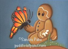 Oh the Butterfly! Gingerbread Crafts, Gingerbread Man, Sewing Projects, Projects To Try, Country Paintings, All Holidays, Butterfly Pattern, Paint Shop, Felt Toys