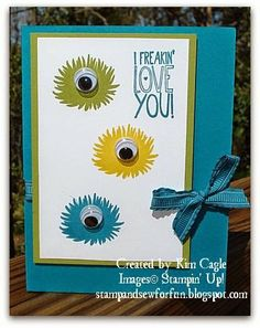 Stamp and Sew For Fun - Simple Stems Monster Cards, Stampin' Up! Freakin' Love You