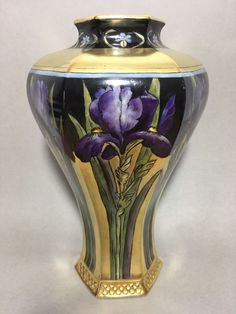 1905 CAC/LENOX American Belleek Vase GOLD Iris Signed Hand Painted Art Nouveau