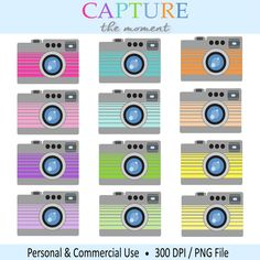 Camera Clipart - Digital Clip Art Colorful camera graphics for personal and commercial use - Scrapbook clipart Clipart clip art digital printable photo picture snapshot photographer photography instant download graphics scrapbook clipart scrapbook clip art 3.00 USD #goriani