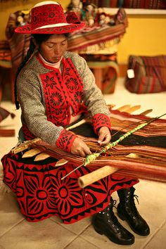 Traditional textile weaving at the Center for Traditional Textiles in Cusco, Peru