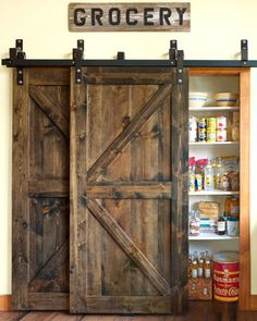 A house just isn't a home without a barn door or two. There's something … - DIY Projects - A house just isn't a home without a barn door or two. There's something … A house just isn't a home without a barn door or two. Trendy Home Decor, Cheap Home Decor, Home Decor Styles, Kitchen Styling, Wooden Doors, Wooden Windows, Large Windows, Dream Houses, Home Projects